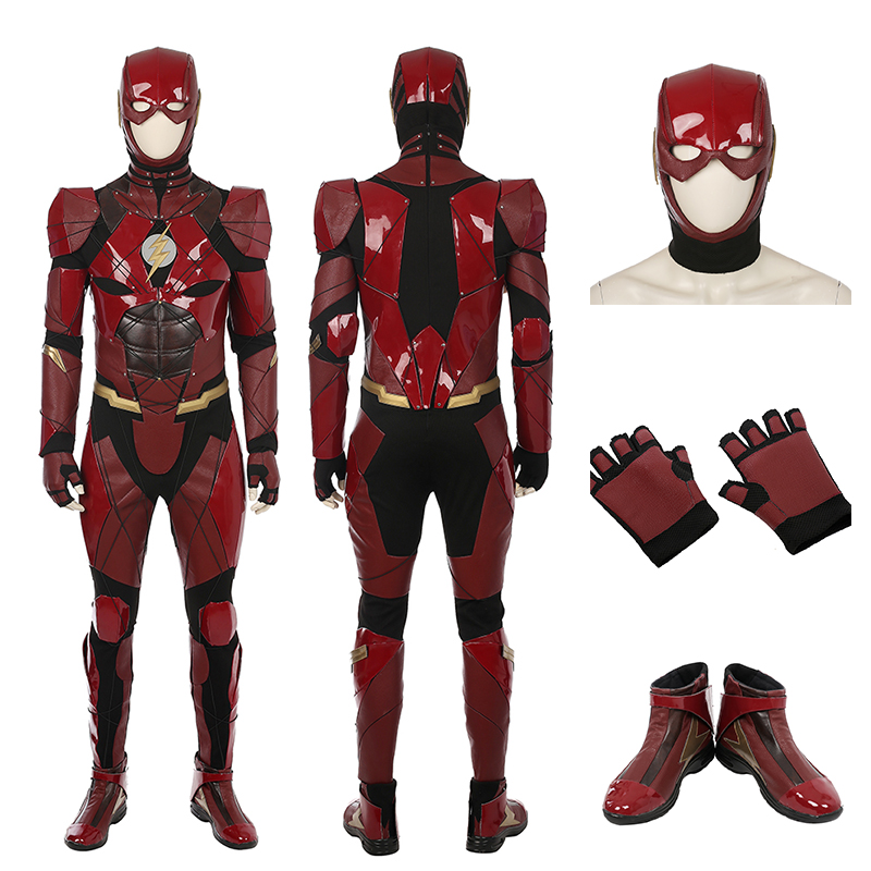 High Quality Justice League The Flash Cosplay Costume Barry Allen Costume Red Jumpsuit For Adult Halloween Full Set
