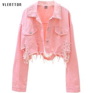 Image 1 - Autumn Streetwear Pink White Womens Jeans Jacket Coat Beading Hole Short Female Denim Jackets Long Sleeve Loose Cowboy Outwear