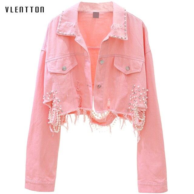 Autumn Streetwear Pink White Womens Jeans Jacket Coat Beading Hole Short Female Denim Jackets Long Sleeve Loose Cowboy Outwear