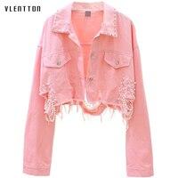 Autumn Streetwear Pink White Women's Jeans Jacket Coat Beading Hole Short Female Denim Jackets Long Sleeve Loose Cowboy Outwear