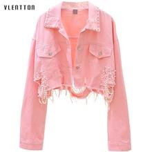 Jesień Streetwear różowa biała damska jeansowa kurtka płaszcz frezowanie dziura krótkie kobiece kurtki jeansowe z długim rękawem luźne kowbojskie znosić