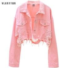 Outono streetwear rosa branco jaqueta jeans feminino casaco com miçangas buraco curto feminino denim jaquetas manga longa solto cowboy outwear