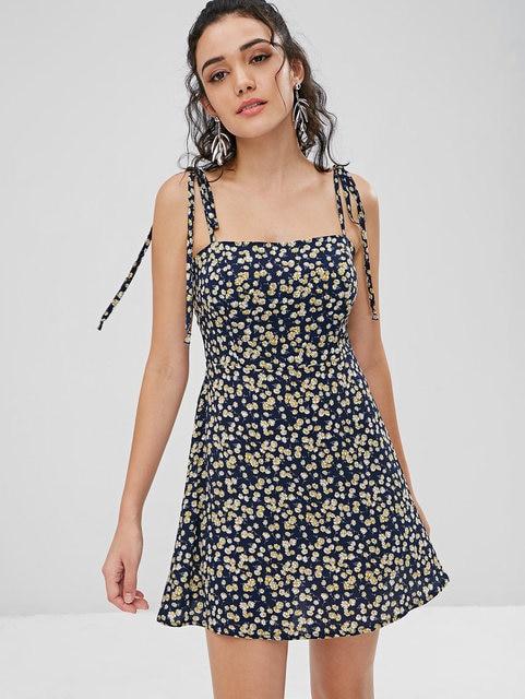 84b44025857 Wipalo Boho Floral Tie Strap Apron Mini Sundress Green Prints Spaghetti  Strap Mini Dress Women Sundress