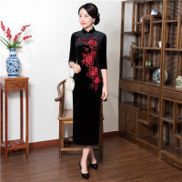 Shanghai Story Black Cheongsam Dress Half Sleeve Velvet Qipao Vintage Dress Chinese Traditional Clothing For Woman