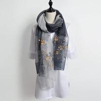 Soft Wool Silk Scarf Women Embroidered Scarves 190x80cm Long Shawls High Quality Chinese Silk Scarf Luxury
