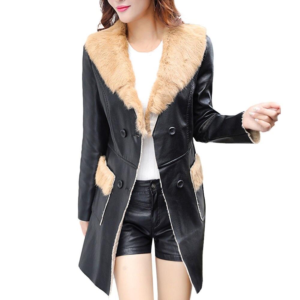 Nouveau Cuir Plus Col Streetwear Manteaux Trench Mode La Black Outwear Manteau Femmes D'hiver Faux Taille Long Fourrure khaki Oc16 De vent Coupe r4wrYTq