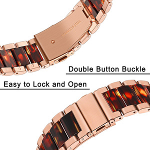 Image 4 - Stainless Steel & Resin Watchband for Samsung Galaxy Watch 42mm Active Active2 44mm 40mm Quick Release Band Women Strap RoseGold