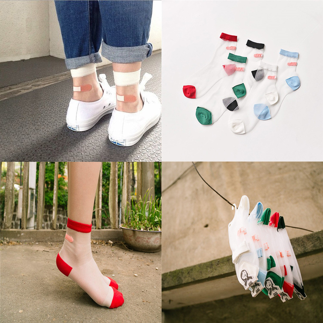 5 Pairs/lot Japanese Summer Women Transparent Socks Harajuku Stretch Band Aid OK Crystal Sock Japan Glass Silk Art Socks