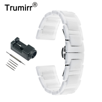 16mm Full Ceramic Watchband for Huawei Talkband B3 Women's Replacement Band Link Strap Butterfly Buckle Bracelet Black White