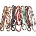 Бесплатная доставка, модные длинные ожерелья с натуральными полудрагоценными бусинами и узелком для женщин