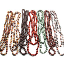 Free Shipping Fashion Natural Semi Precious Stones Beads long Knotted Statement Necklaces For Women