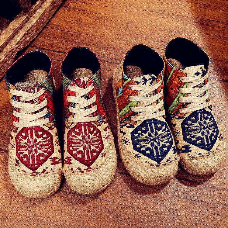 De Cómodos A Algodón Invierno Perezosos Étnico Viejos Planos Los Azul Más Pekín Hechos Estilo Zapatos Transpirables rojo 2019 Y Lino Mano Nuevos Tw0qF