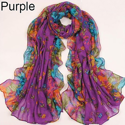 Fashion Floral Print Women Lady Soft Voile Shawl Long Scarf Wrap Stole Gift