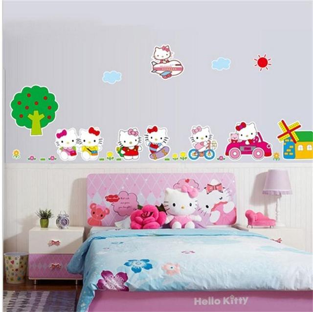 Cute Hello Kitty DIY Home Decor Baby Love Kids Girls Room Decoration Wall Stickers Child Nursery Funny Decal Sticker