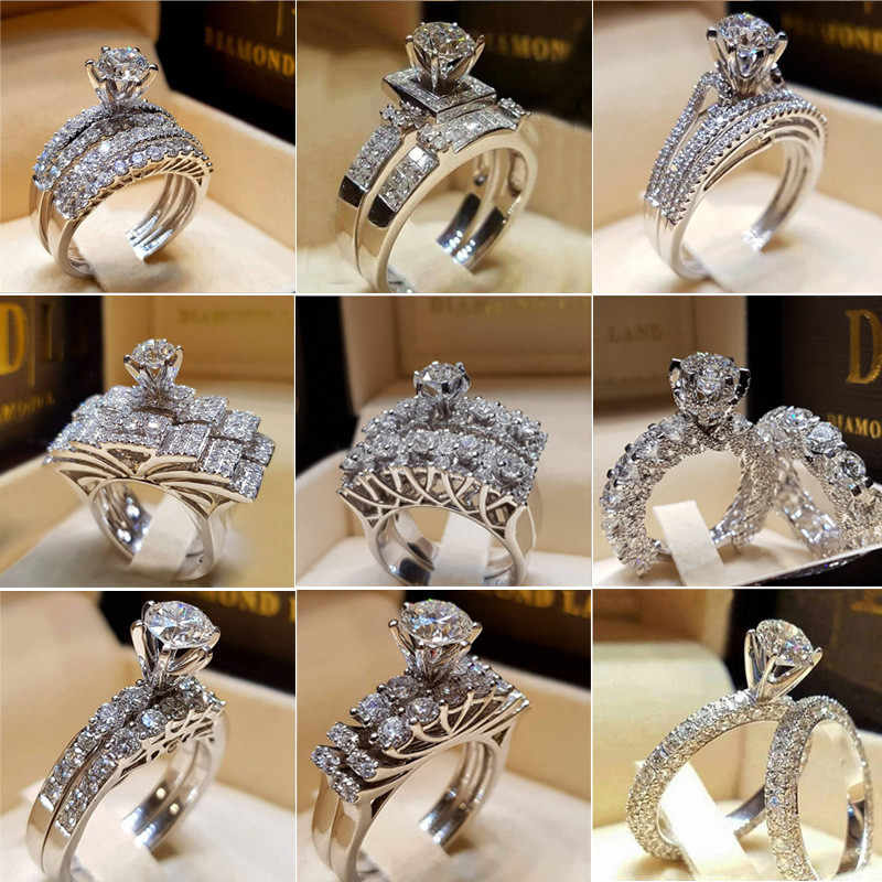 Female Austrian Crystal Princess Cut Stone Wedding Rings For Women Silver Color Big White Zircon Engagement Jewelry 25 Design