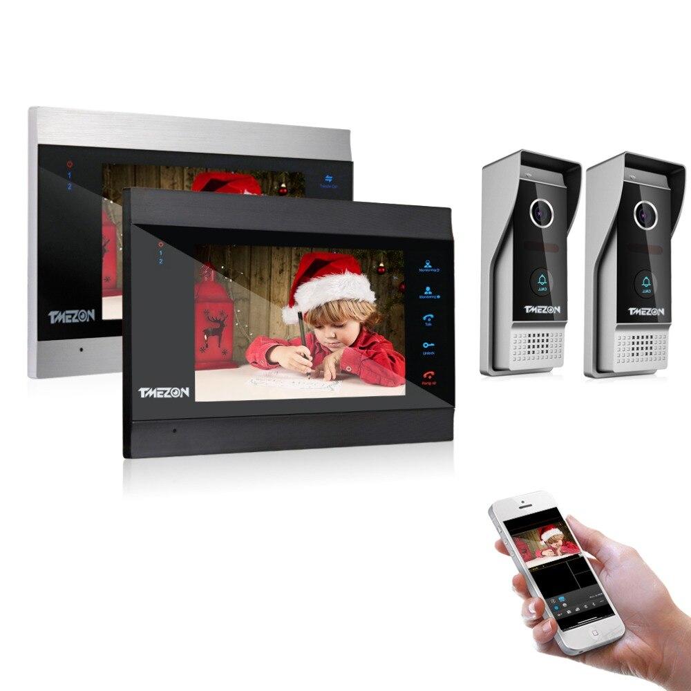 TMEZON 7 Inch Wireless/Wifi Smart IP Video Door Phone Intercom System with 2 Night Vision Monitor + 2 Rainproof Doorbell Camera