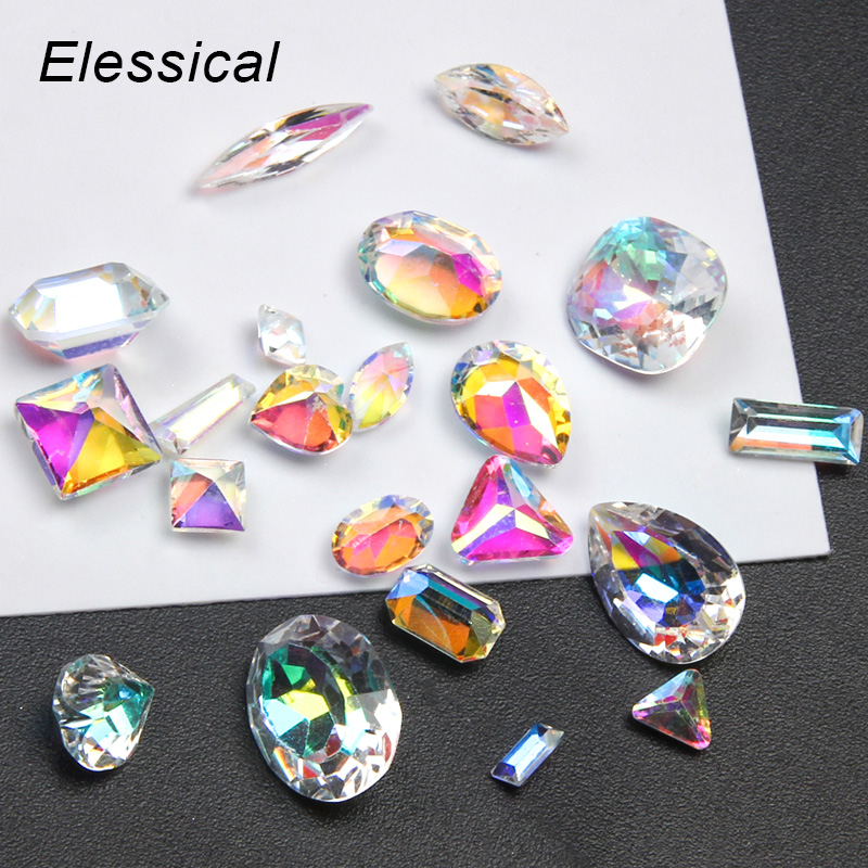 Elessical 20pcs Laser Resin Rhinestones Nail Art Gems AB Color 3D Nail Art Decorations Stud For Nails Accessories Manicure Tools ab color crystal beads 3d nail art decorations sharp bottom diy rhinestones body art nail decoration accessories manicure uv gel