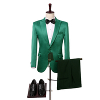 Green Men Suits 2017 Two Piece Peaked Lapel Slim Fit Groom Tuxedos for Wedding Jacket Pants Foviva Style 09012