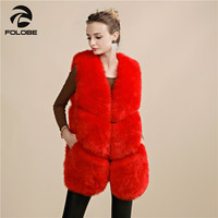 FOLOBE New Fashion Faux Fox Fur Vest Women Waistcoat Long Slim Fake Fur Coats Fur Gilet Warm Fur Red Coats Women