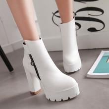 Elegant Zipper Autumn Winter Ladies Retro Style Ankle Boots Fashion Large Size Womens Platform Shoes Chunky