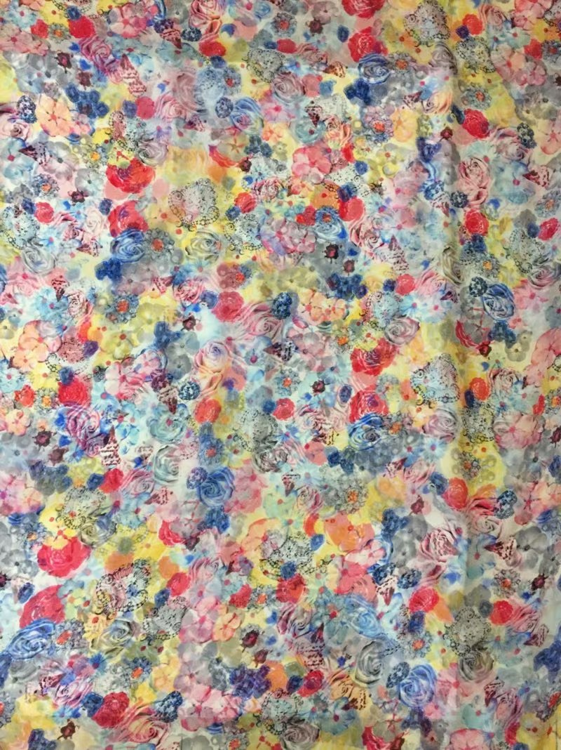 New Summer Print 100 Silk Chiffon Fabric For Women Dress 140cm Wide 6Momme Thin Georgette Fashion cloth DIY Sewing DSF32 in Fabric from Home Garden