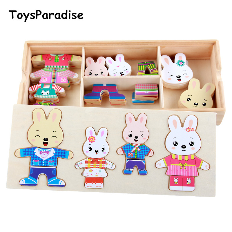 Baby Toys Rabbit/Bear Family Dress Changing Wooden Toys For Kids Dressing Jigsaw Wood Puzzles For Children Educational Gift