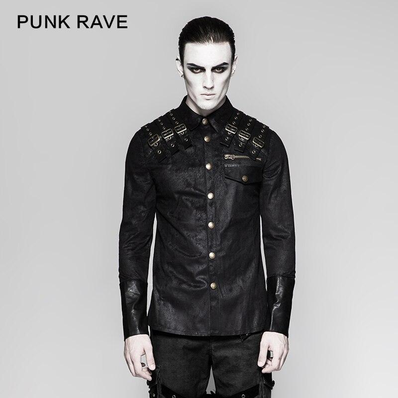 Punk Rock Heavy Metal Steampunk Épaule En Cuir Nouveauté Beau À Manches Longues Hommes T-Shirt Y740
