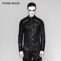 Punk Rock Heavy Metal Steampunk Shoulder Leather Novelty Handsome Long Sleeve Men T Shirt Y740