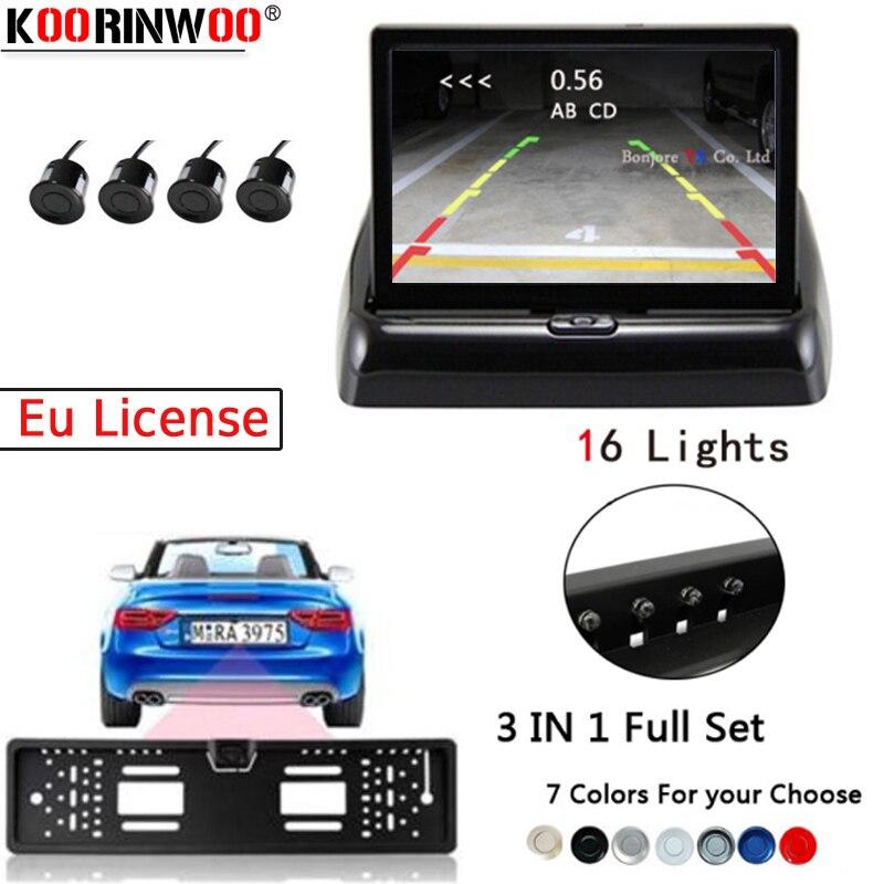 Koorinwoo ensemble complet ue permis voiture Parking capteurs LCD moniteur vidéo plaque cadre caméra de recul 16 LED lumières électromagnétiques