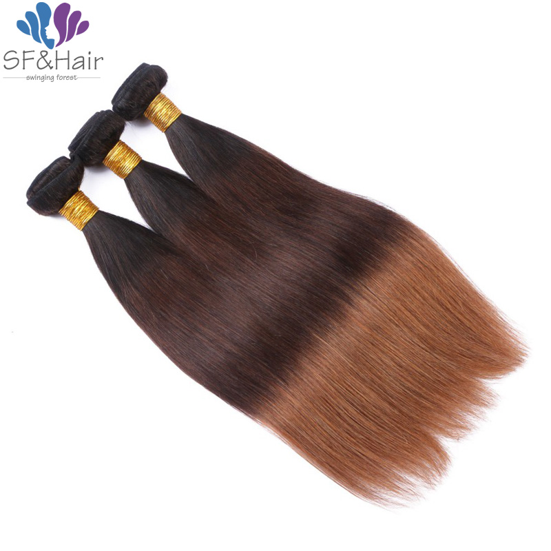 #T1B/4/30 Ombre Hair Extensions 3 Bundles Silky Straight Peruvian Virgin Hair Weave Wholesal 100% Ombre Human Hair Bundles