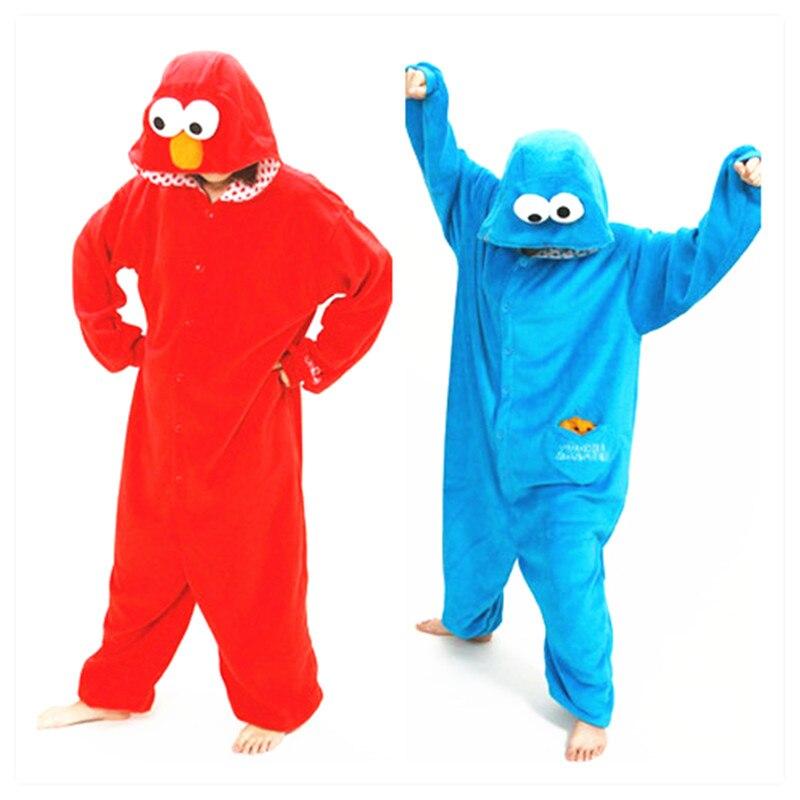 Adults Flannel Kigurumi Sesame Street  COOKIE MONSTER & ELMO Cosplay Costume Women Or Men Onesies Pajamas