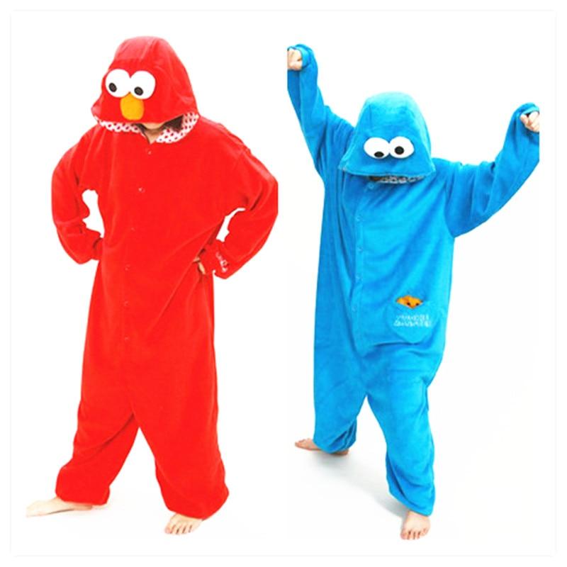 Erwachsene Flanell Kigurumi Sesame Street Cookie Monster Elmo