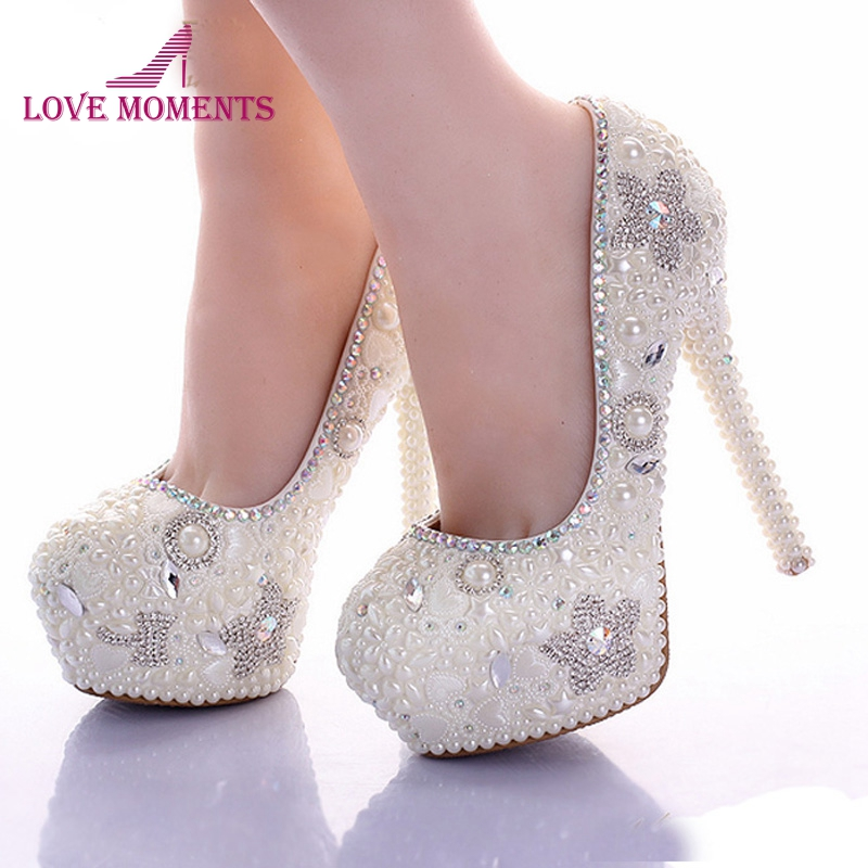 Gorgeous Spring Beautiful Bridal Shoes Ivory Pearl 14cm High Heel Platform Wedding Party Shoes Daughter Prom Pumps Star Shape 14cm high heel party prom shoes rhinestone platform pumps ab crystal heel wedding shoes white pearl bridal shoes