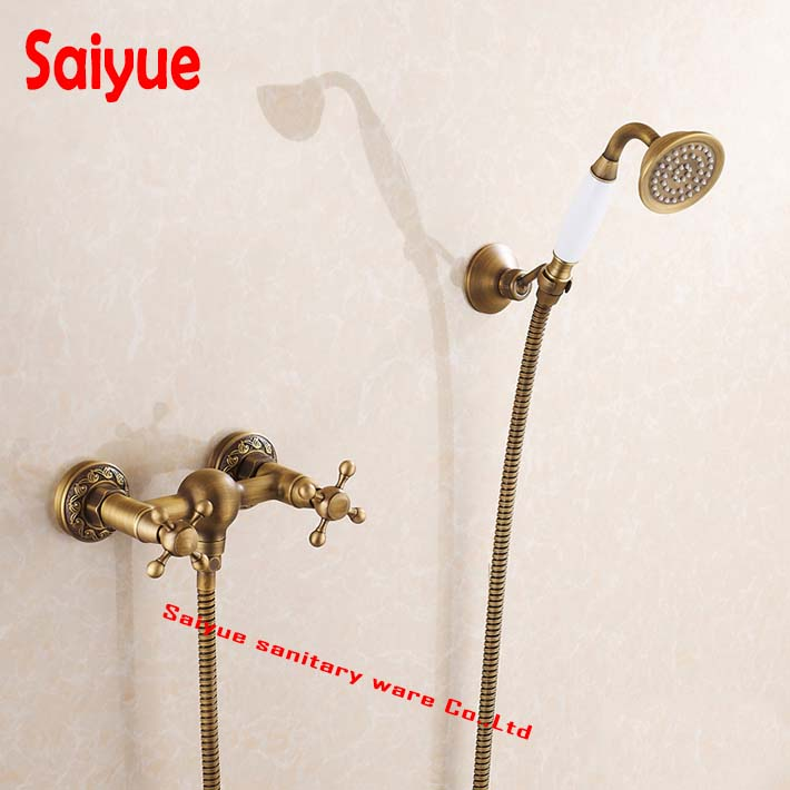 Lavatory <font><b>Roman</b></font> <font><b>Tub</b></font> Faucets Solid Brass Bathroom Fixtures Bath Shower Faucet with Handheld Shower antique Shower Holder in wall