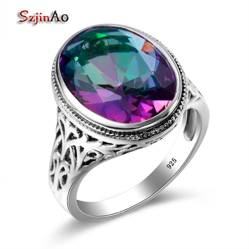 Szjinao Rainbow Mystic Emerald Ring Genuine 925 Sterling Silver Big Rings For Women Fashion Jewelry Christmas Gifts szjinao cute genuine 100