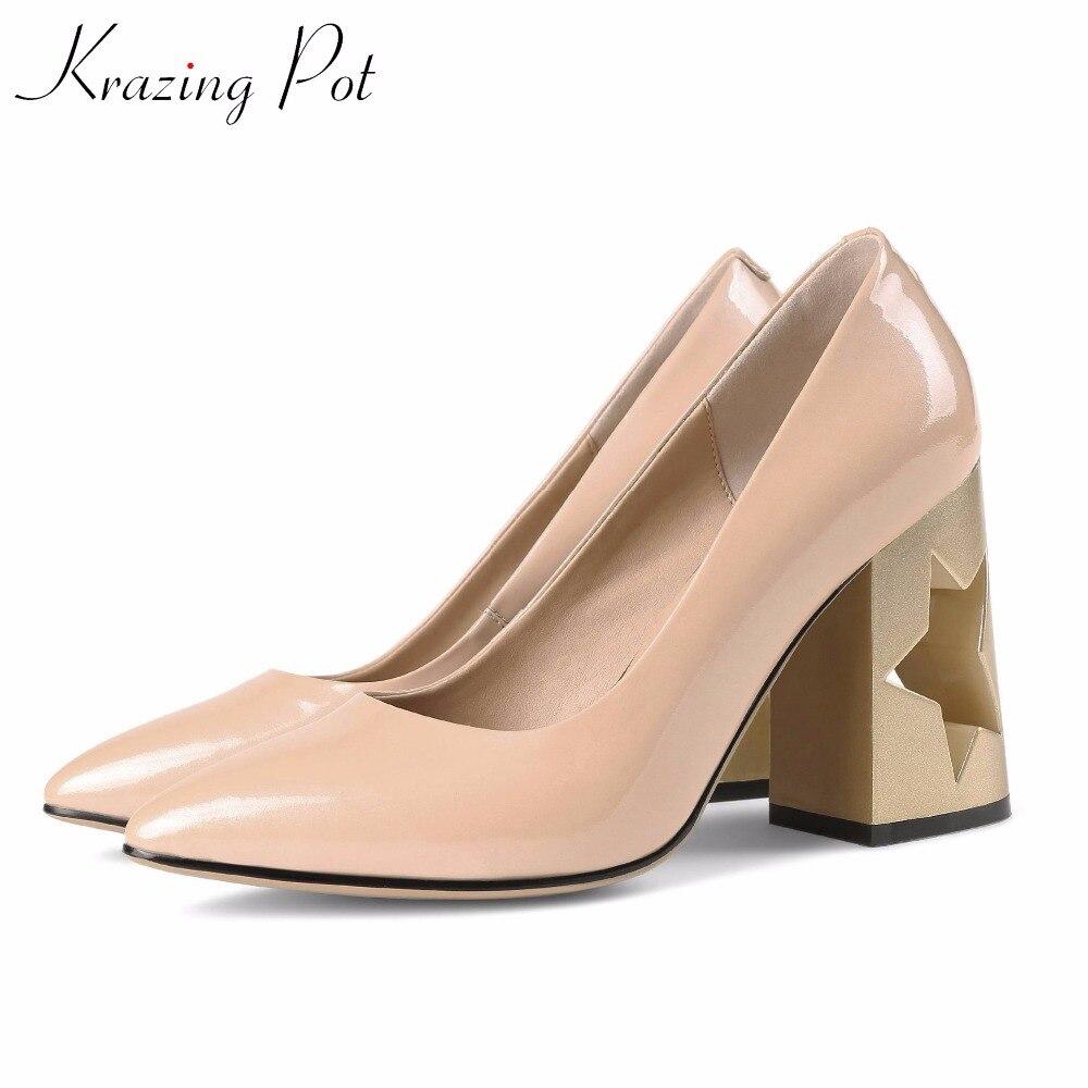 Krazing Pot fashion brand shoes cow leather slip on metal fretwork heel shoes women plus size high heels wedding women pumps L76