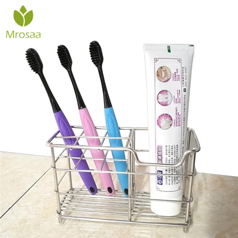 1 Pc Mrosaa Stainless Steel Toothbrush Holder Toothpaste Razor Stand Bathroom Organizer Drain Tooth Brush Slots Mug Storage Rack image
