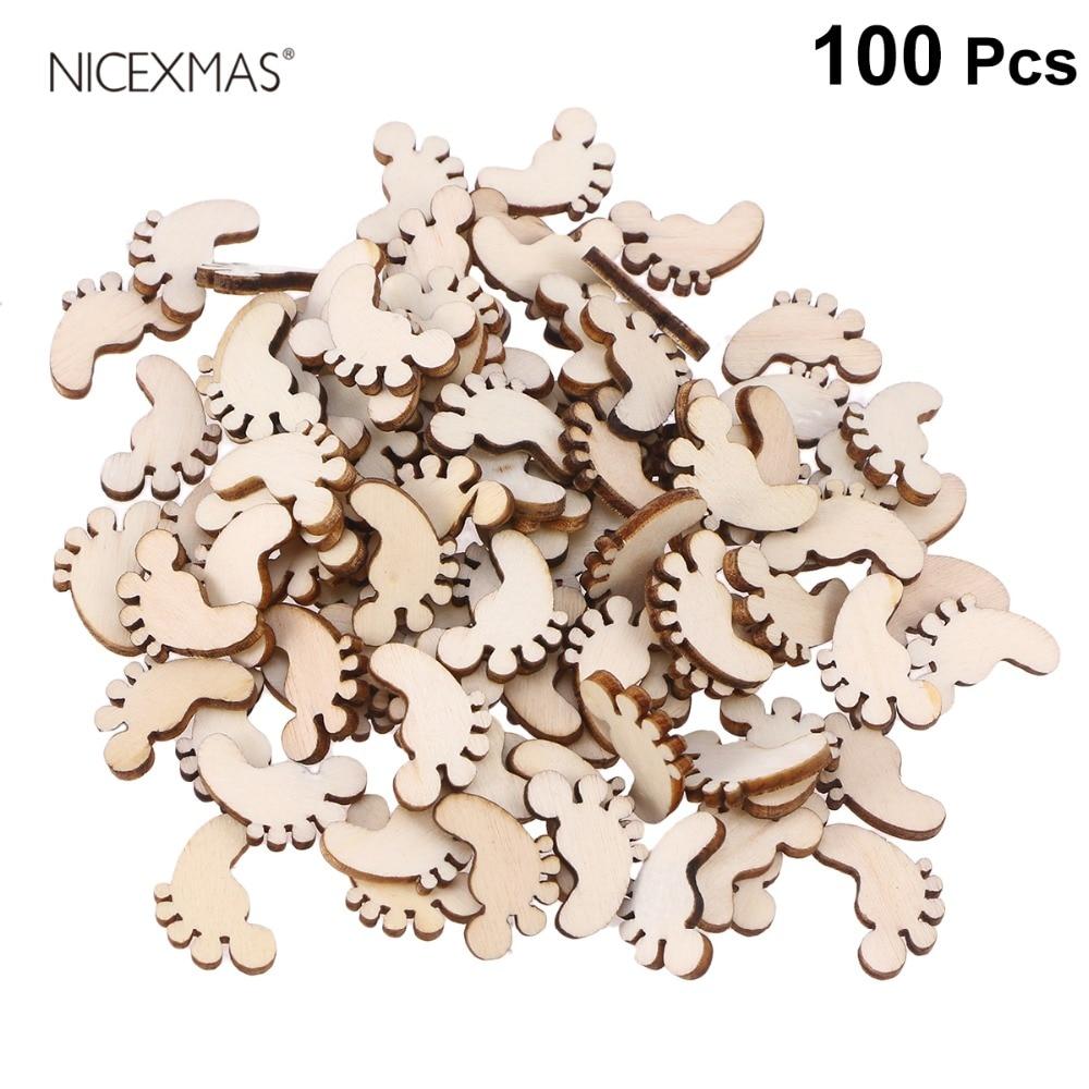 100pcs Cartoon Foot Shape Wooden Pieces Cutouts Craft Embellishments Wood Ornament Manual Accessories For DIY Art