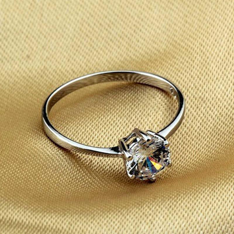 Ataullah ใหม่คลาสสิก 1 กะรัตรอบ Brilliant ตัด 925 สเตอร์ลิงเงิน SONA จำลองแหวนหมั้นเพชร RWB016