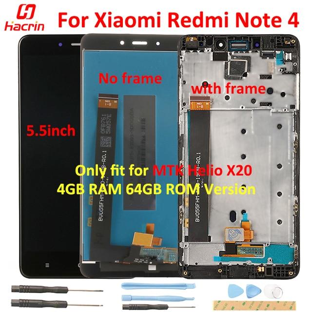 Affichage pour Xiaomi Redmi Note 4 écran LCD + écran tactile avec cadre pour Xiaomi Redmi Note 4 5.5 pouces MTK Helio X20