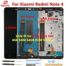 תצוגה עבור Xiaomi Redmi הערה 4 LCD מסך + מגע תצוגת מסך עם מסגרת עבור Xiaomi Redmi הערה 4 5.5 אינץ MTK Helio X20