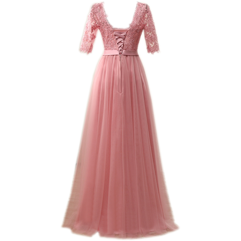 NOBLE WEISS Elegant Hot Sale Floor-Length Appliques Evening Dress Prom Dresses Robe De Soiree Party Dress With Half Sleeves