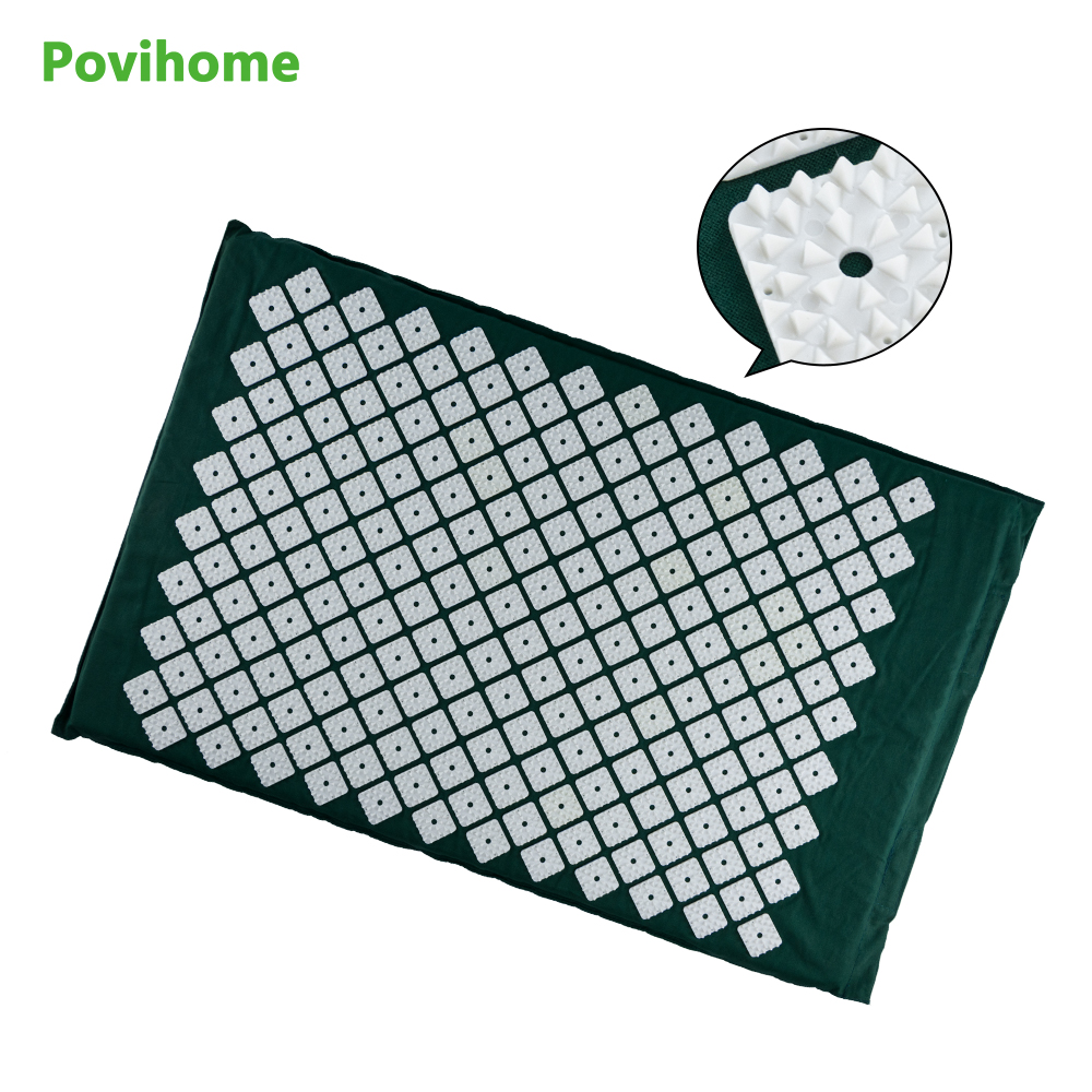 Povihome Acupressure Mat  Massage Cushion Back/Neck Pain Relief and Muscle Relaxation Pain Relieve Points Dark Green C1191 new arrival neck massage roller acupressure cervical massage ball relieve the pain of neck soothing neck muscles