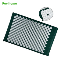 Povihome Acupressure Mat Massage Cushion Back/Neck Pain Relief and Muscle Relaxation Pain Relieve Points Dark Green C1191