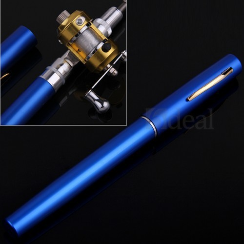 Telescopic Mini Fishing Rod Pen Shape Portable Pocket Aluminum Alloy Fishing Fish Spinning Rod Pole with Reel Free Shipping