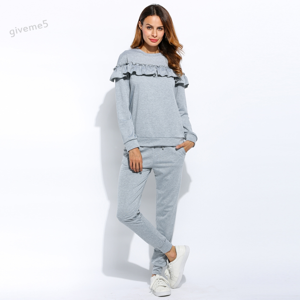 Women Casual Autumn and Winter Clothing Ruffle Sweatshirt +Long Pants Set Loungewear Joggers Hooded Suit