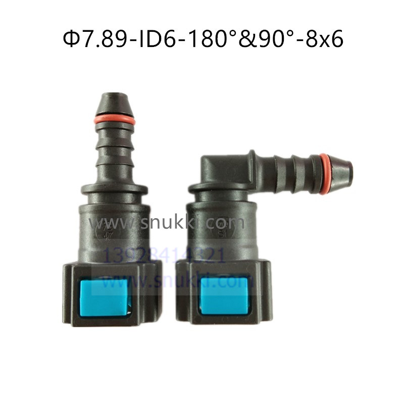 7.89mm-ID6-90degree SAE 5/16 Accesorios de tubería de combustible auto Línea de combustible conector rápido gasolina conector hembra rápido