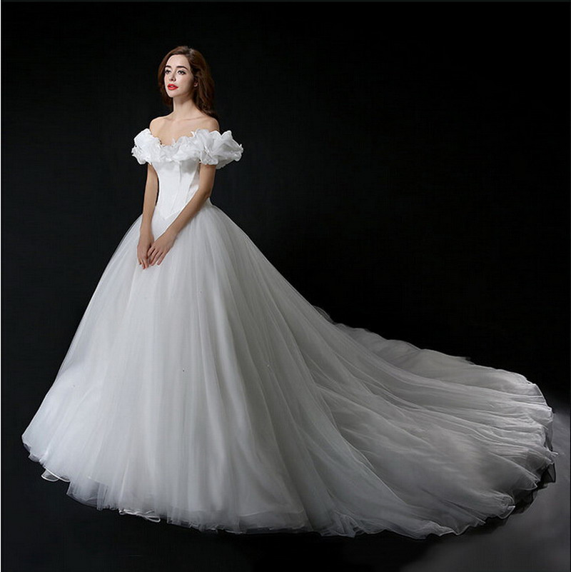Cinderella Wedding: Real Photo Cinderella Wedding Dress Off Shoulder Princess