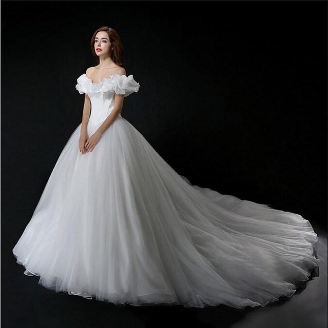 Real Photo Cinderella Wedding Dress Off Shoulder Princess Bridal ...