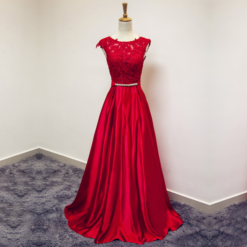 Beauty-Emily Red Long   Prom     Dresses   A Line Elegant Floor-length Sexy Plus Size Evening Party Gowns Robe De Soire